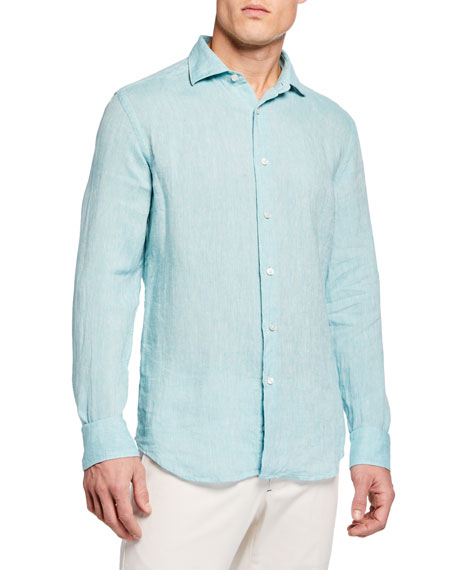 Image 2 of 3: Neiman Marcus Men's Long-Sleeve Linen Sport Shirt