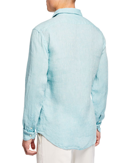 Image 3 of 3: Neiman Marcus Men's Long-Sleeve Linen Sport Shirt