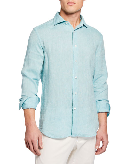 Image 1 of 3: Neiman Marcus Men's Long-Sleeve Linen Sport Shirt