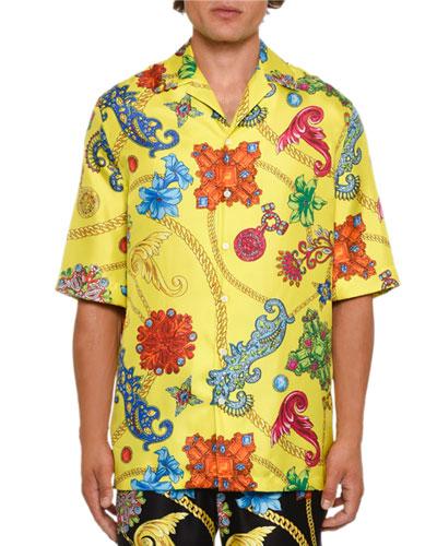 Men's Short-Sleeve Jewels Silk Shirt
