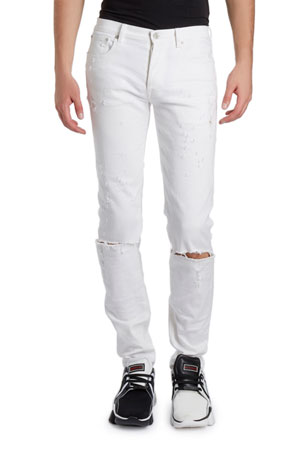 Givenchy Men's Distressed Skinny Stretch Denim Jeans