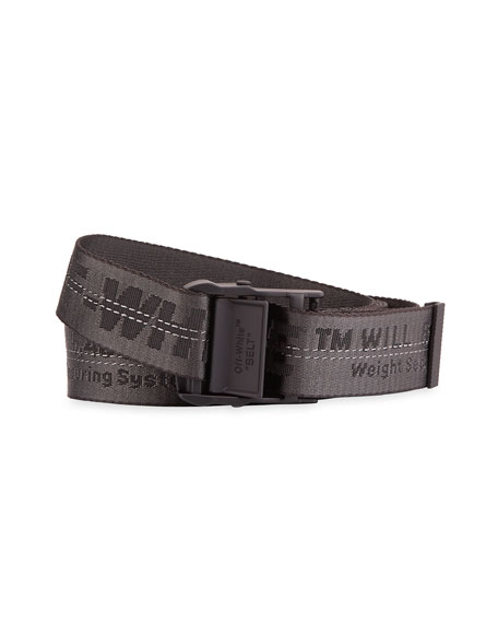 Off-White Men's Industrial Web Logo Belt, Black