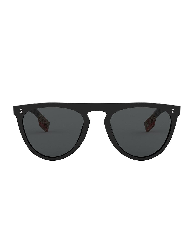 1c46f48ab0cf Burberry Men's Bluebird 54 Signature Check Acetate Aviator Sunglasses -  Polarized | Neiman Marcus