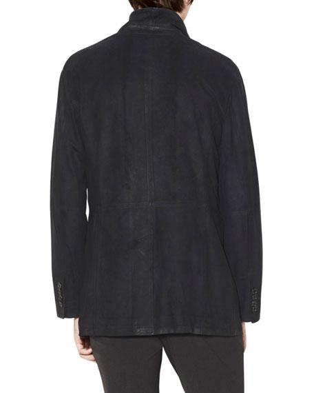 John Varvatos Men's Double-Breasted Cutaway Suede Coat