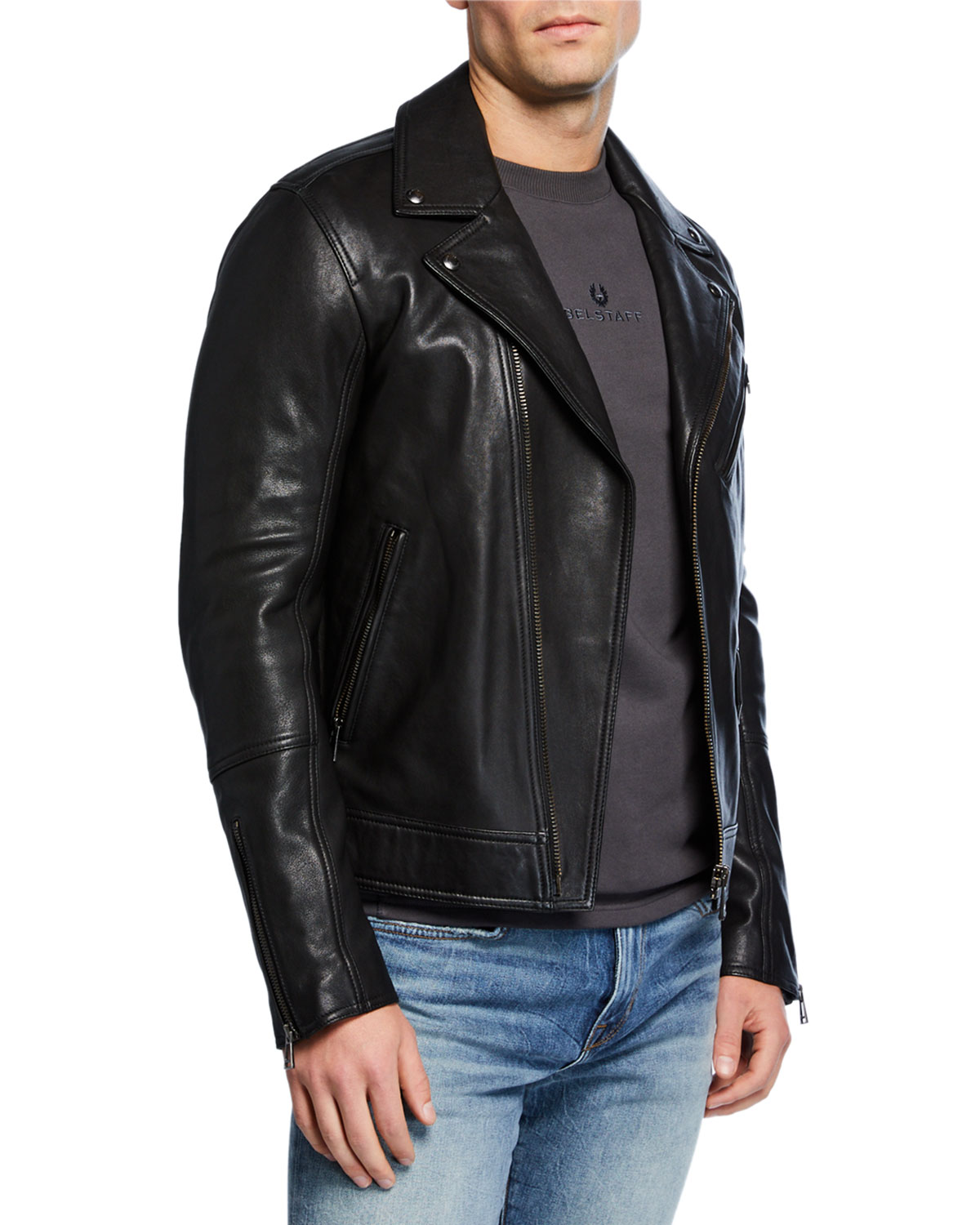 c18884a256 Belstaff Men's Fenway Leather Zip-Front Moto Jacket | Neiman Marcus