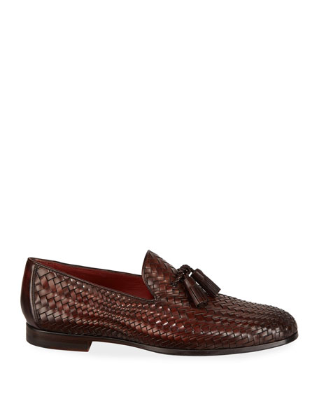 Magnanni for Neiman Marcus Men's Arcade Caoba Woven Leather Loafers