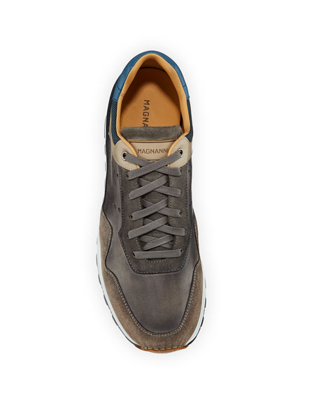 Magnanni for Neiman Marcus Men's Varenna Leather/Suede Lace-Up Sneakers