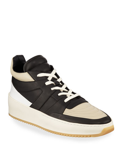 Men's Two-Tone Leather Mid-Top Basketball Sneakers