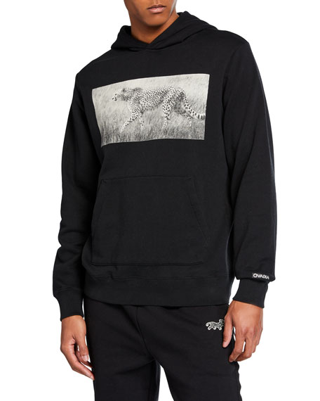 Ovadia & Sons Men's Long-Sleeve Cheetah Photo Hoodie