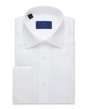 53b92c10f197 David Donahue Men's Regular-Fit Mini-Box Formal Dress Shirt