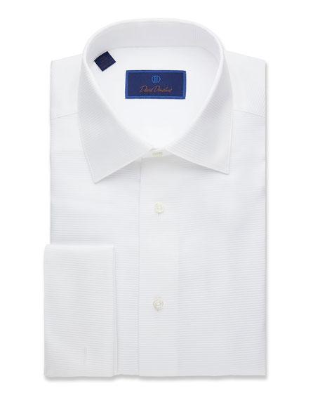 David Donahue Men's Regular-Fit Horizontal Ribbing Formal Dress Shirt