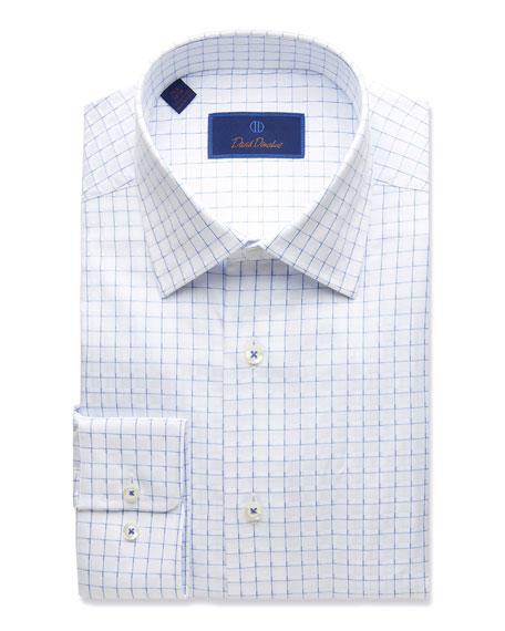David Donahue Men's Regular-Fit Twill Box-Check Dress Shirt