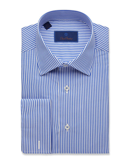 David Donahue Men's Regular-Fit Classic Stripe Dress Shirt with French Cuffs
