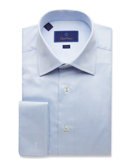 David Donahue Men's Trim-Fit Micro-Dobby Dress Shirt with French Cuffs