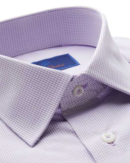 David Donahue Men's Regular-Fit Micro-Gingham Dress Shirt with French Cuffs