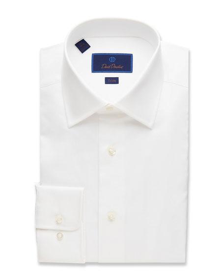 David Donahue Men's Trim-Fit Superfine Twill Dress Shirt