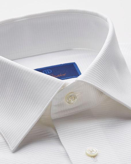 David Donahue Men's Trim-Fit Ribbed Formal Dress Shirt