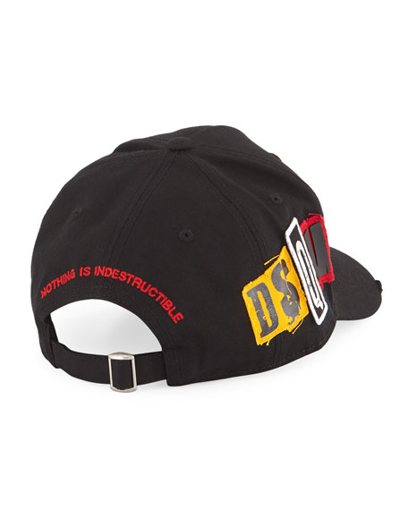 Dsquared2 Men's Gabardine Baseball Cap, Black