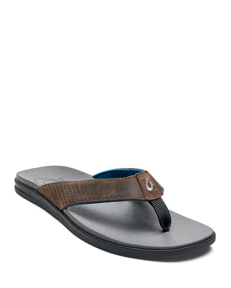 Olukai Sandals MEN'S ALANIA EMBROIDERED LEATHER THONG SANDALS