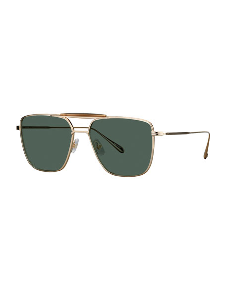 Garrett Leight Men's Convoy 56 Aviator Sunglasses