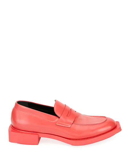 Alexander McQueen Men's Patent Leather Penny Loafer w/ Oversized Outsole