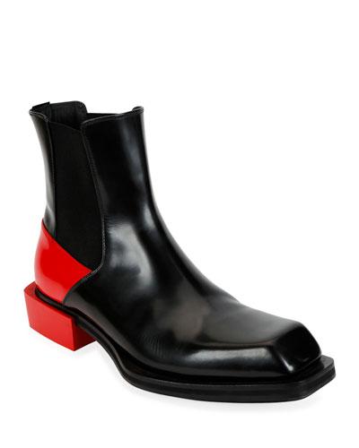 Men's Colorblock Leather Boots