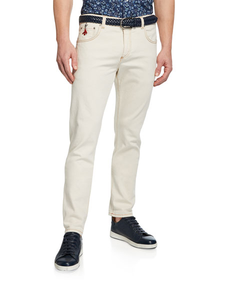 Isaia Men's Straight-Leg 5-Pocket Twill Pants