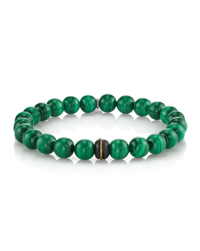 Men's Malachite Bead Bracelet with Diamond Insets