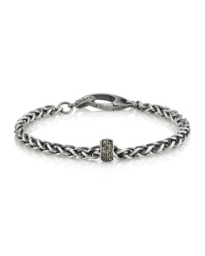 Men's Rolo Chain Bracelet w/ Diamonds