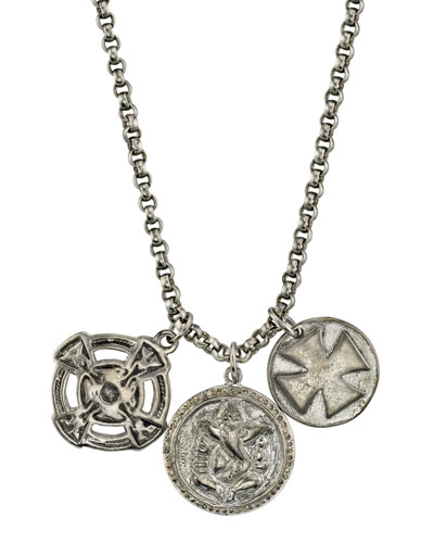 Men's Triple-Disc Pendant Necklace