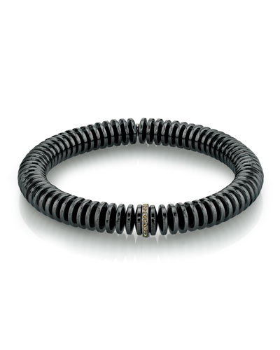 Men's Hematite Disc & Diamond Bracelet  Size M