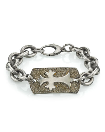 Men's Diamond Pave Cross Bracelet  Size M