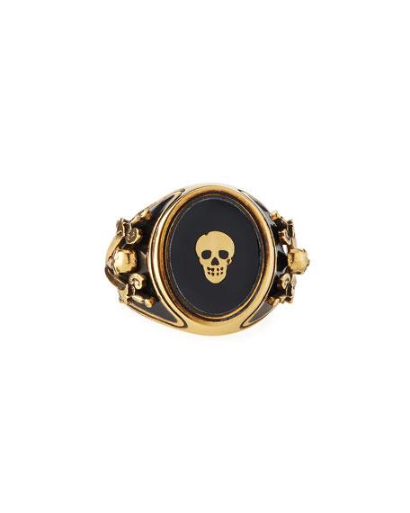 Alexander McQueen Men's Enamel Skull Signet Ring