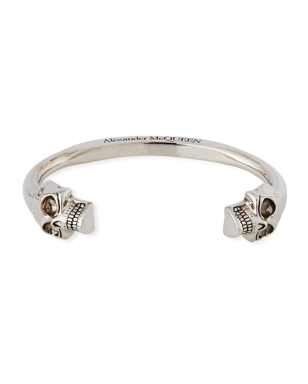 Men S Large Twin Skull Coated Br Bracelet Silver
