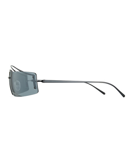 Prada Men's Rectangle Shield Sunglasses - Mirror Lens