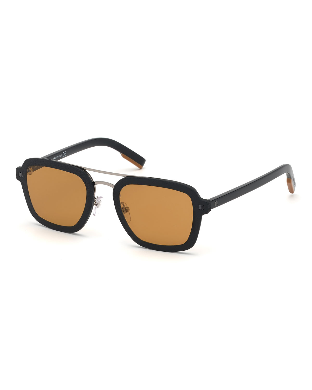 5e75004b447d Ermenegildo Zegna Men's Shiny Acetate Double-Bridge Sunglasses ...