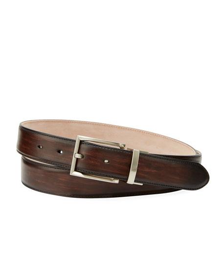 Magnanni for Neiman Marcus Men's Streak Leather Square-Buckle Belt