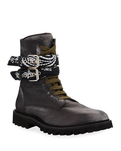 Men's Bandana Leather Combat Boots