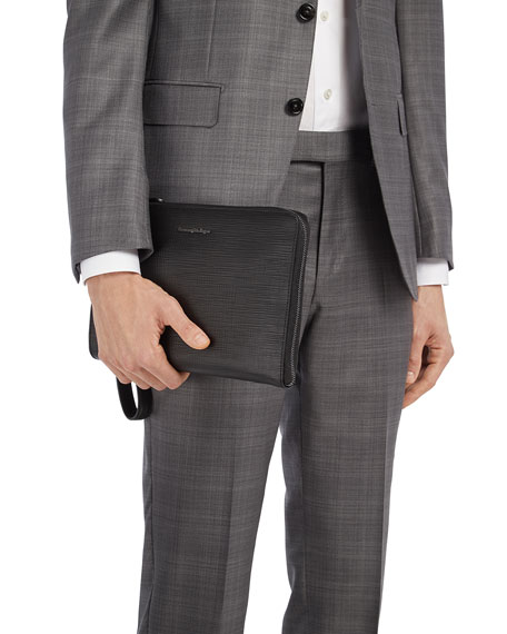 Ermenegildo Zegna Men's Stuoia Small Zip-Around Leather Portfolio Case