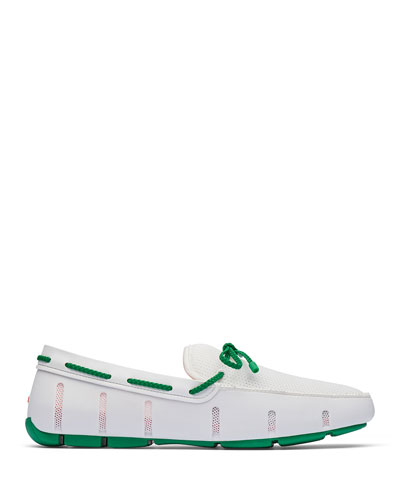Mesh & Rubber Braided-Lace Boat Shoes  White/Green