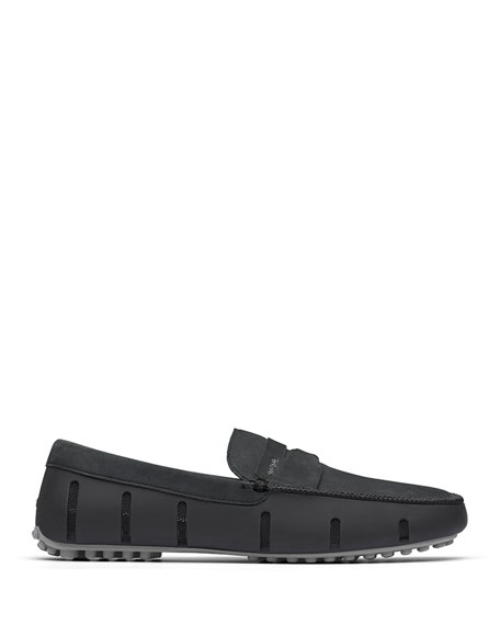 Swims Loafers MEN'S LUXE NUBUCK PENNY DRIVER LOAFERS, BLACK/GRAY