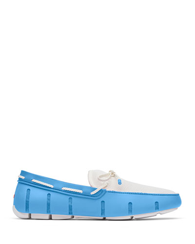 Men's Mesh & Rubber Braided-Lace Boat Shoes  Norse Blue/White