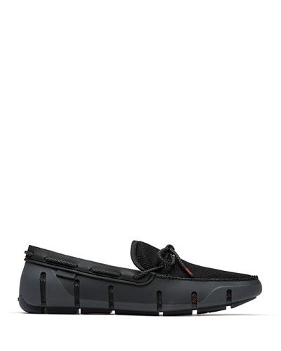 Men's Stride Mesh & Rubber Braided-Lace Boat Shoes  Black/Graphite