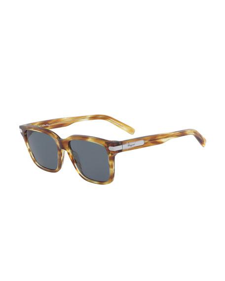 Salvatore Ferragamo Men's Classic Thick Square Sunglasses