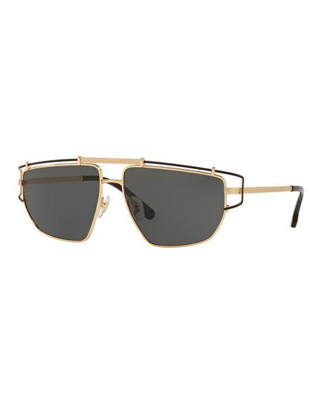 Versace Men's Wrap-Style Aviator Sunglasses