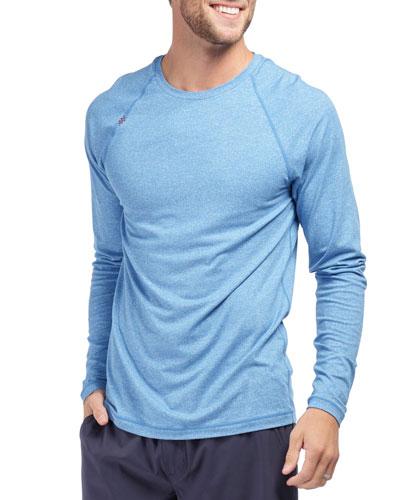 Men's Reign Heathered Long-Sleeve T-Shirt  Track Blue