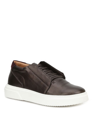 Bruno Magli Men s Phoster Stretch-Laced Leather Sneakers 04b08d735