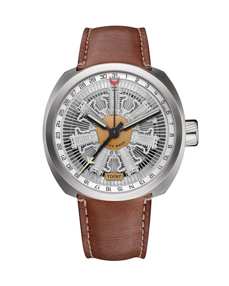 Tockr Watches Men's 42mm Radial C-47C Leather Watch, Silver