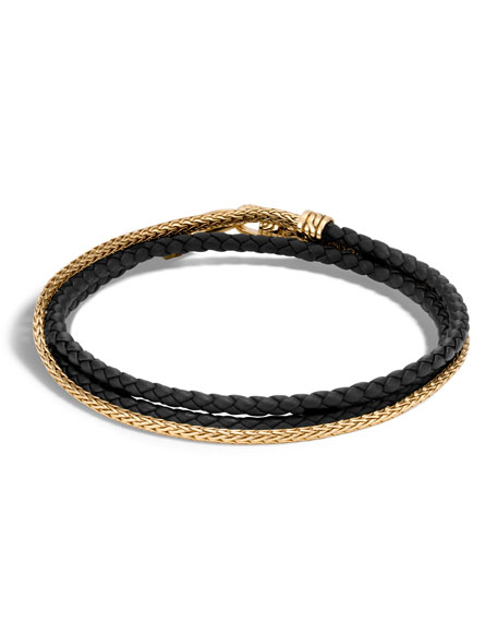 John Hardy Men's Classic Chain 18K Gold & Leather Wrap Bracelet, Size L
