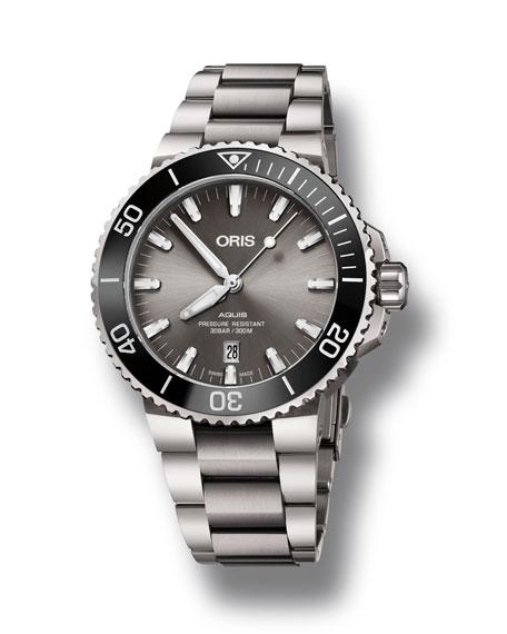 Oris Men's 43.5mm Aquis Automatic Titanium Watch, Gray